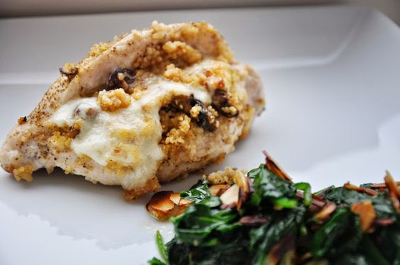 WhitePages: the place between the microwave and the stove | stuffed chicken & toasted almond spinach