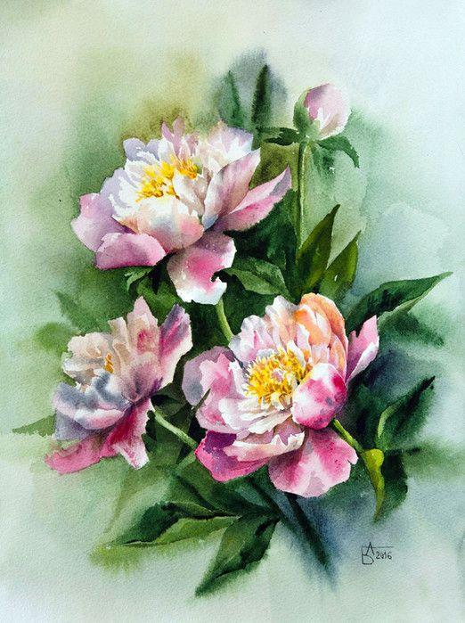 Anastasia Besedina Art Peinture Fleurs Aquarelle Fleurs Et