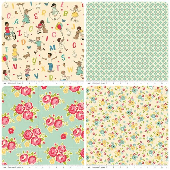 Riley blake childrens fabric floral alphabet fabric for Childrens fabric