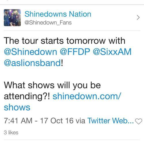 The tour starts tomorrow with @Shinedown @FFDP @SixxAM...