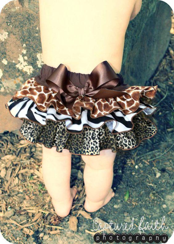 Safari Ruffled Bottom Bloomer/Diaper Cover 03mths by customcutees