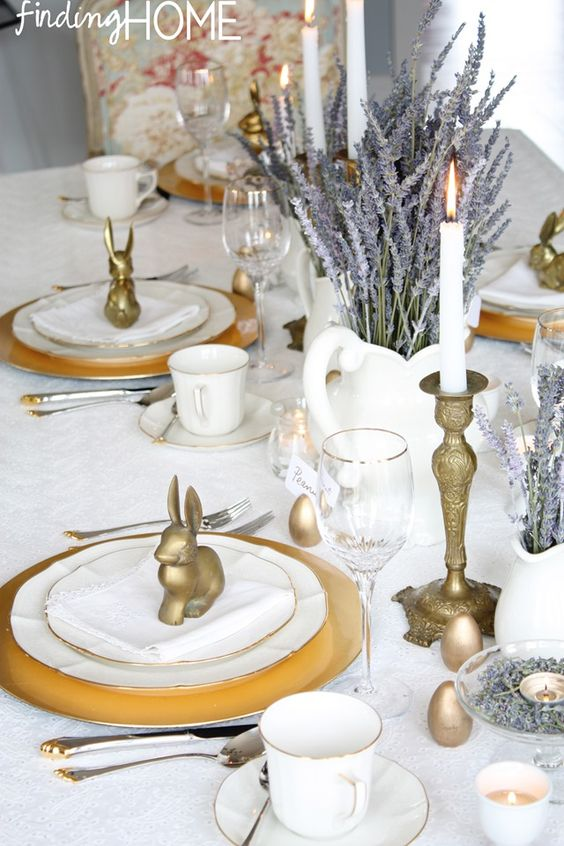 Brass and LavenderTable Setting at Finding Home - http://www.atthepicketfence.com/