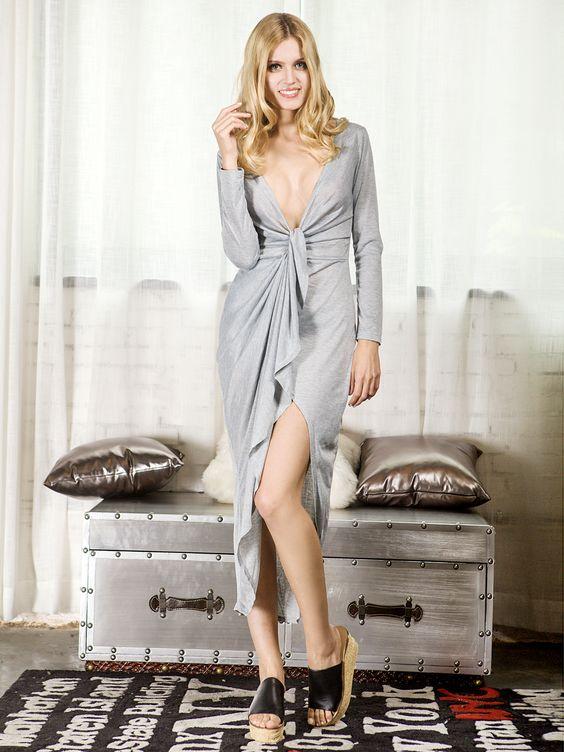 Gray Warp Hi-lo Ruched Asymmetric Long Sleeves Dress