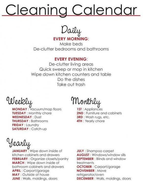Cleaning schedule I found on Facebook. Gives me a better idea of how I should be cleaning to keep my busy and forever messy house clean.