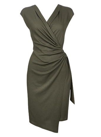 Wallis Khaki Textured Wrap Dress