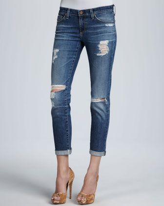 Stilt Thrasher Distressed Cuffed Jeans by AG Adriano Goldschmied at Neiman Marcus.
