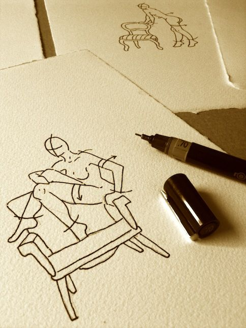 """Croquis """"Maison Close"""" - rotring sur papier cartonné feutré"""