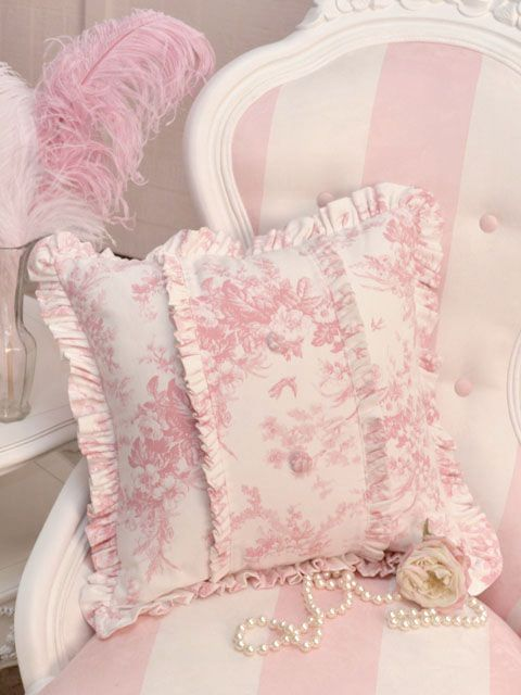 A gorgeously feminine, soft pink and white, toile cushion adorned corner that just begs to be nestled into with a box of French macarons in hand. #home #decor #pink #shabby #chic #elegant #toile #chair #cushion #pillow: