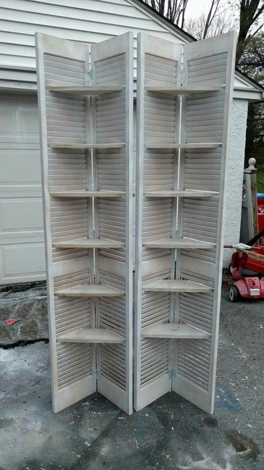 Shutter Shelving Shelving Shutter Diy Shutters Shutters Repurposed Shelving
