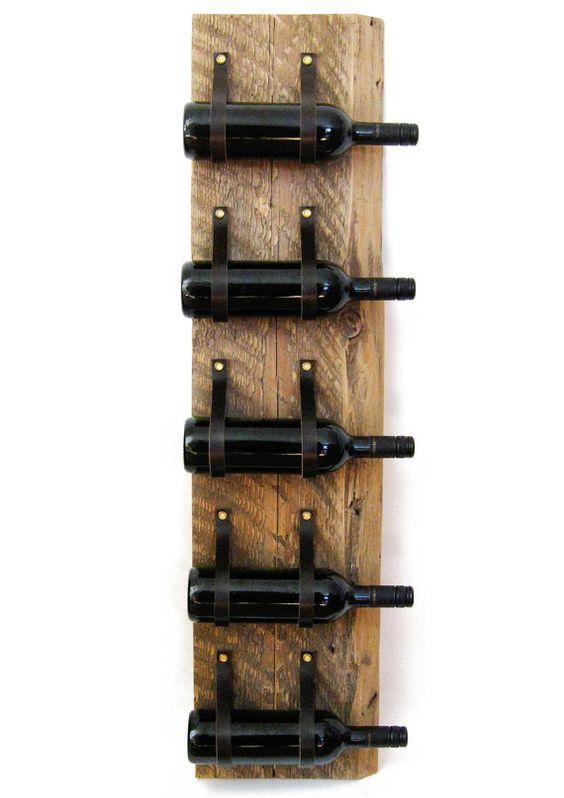 Casier à vin en cuir & bois récupéré bois et recyclé porte-bouteille mural cuir 5 bouteille LWR50