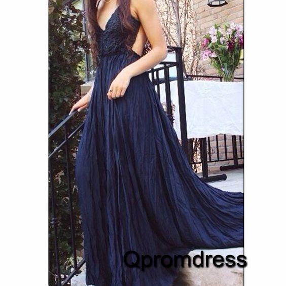 Beautiful hollow backless deep blue satin prom dress, formal dress for teens, prom dresses long #coniefox