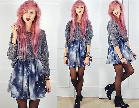 Pussycat London Glitter Sweatshirt, Ark Clothing Galaxy Print Dress, Dolcis Patent Ankle Boots