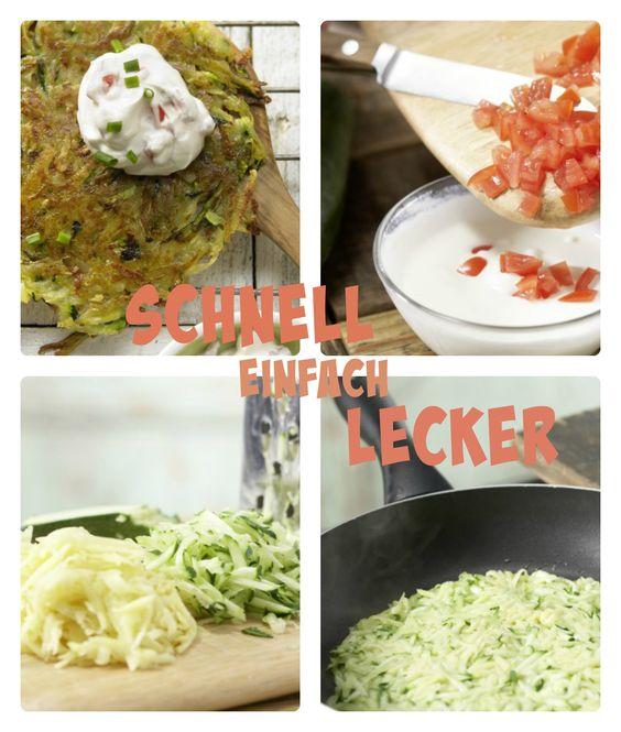 Die Knusperpuffer stehen in nicht mal 30 Minuten auf dem Tisch: Gemüse-Rösti mit Tomatenquark | http://eatsmarter.de/rezepte/gemuese-roesti
