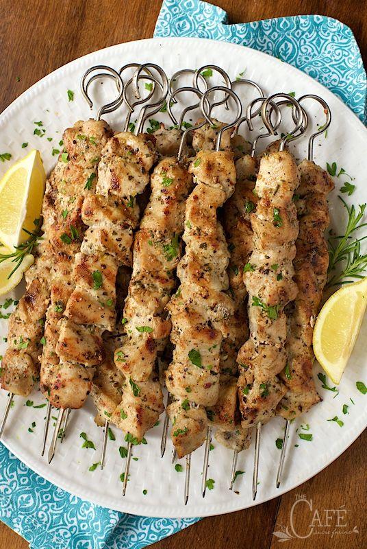 Lemon, Garlic and Rosemary Chicken Skewers   Recipe   Rosemary Chicken ...