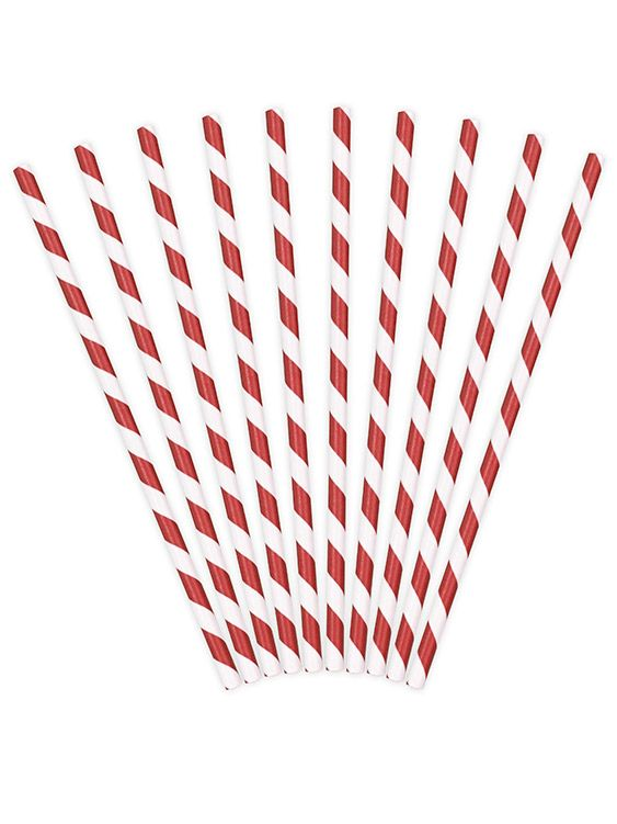 Set 10 cannucce bianche e rosse su VegaooParty, negozio di articoli per feste…