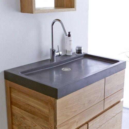 Meuble Salle de bain en chêne et pierre de lave 80 Easy en ...