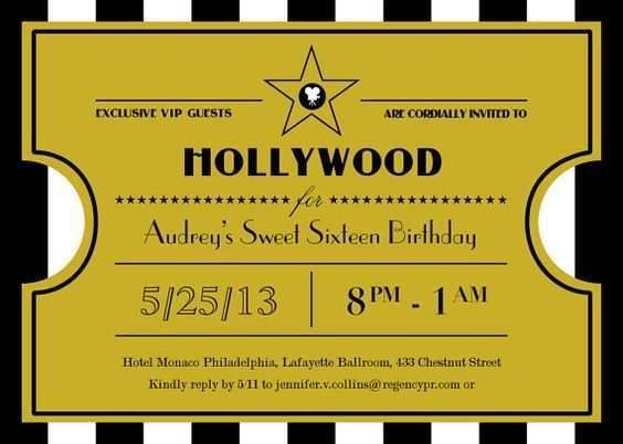 Image Result For Tarjeta De Invitacion De Hollywood En Pdf