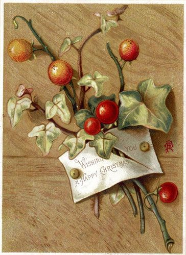 Vintage Victorian Holly and Ivy Postcard