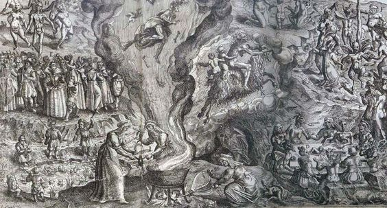 Detail from an engraving of a witches' sabbat by Jan Ziarnko
