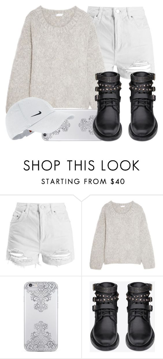 """""""47.7"""" by mallorimae ❤ liked on Polyvore featuring Topshop, Chloé, Nanette Lepore, Yves Saint Laurent and NIKE"""