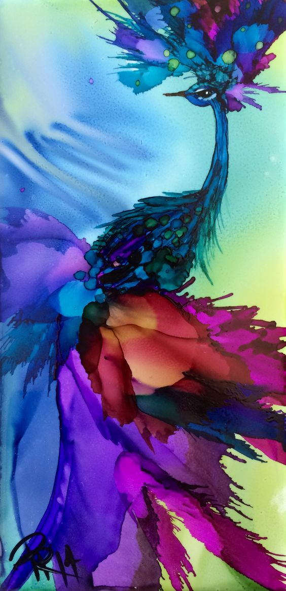 Parisian Peacock alcohol ink on ceramic tile (3x5):