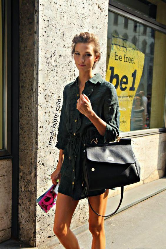 cruisy summery chic. #KarlieKloss #offduty in Milan.