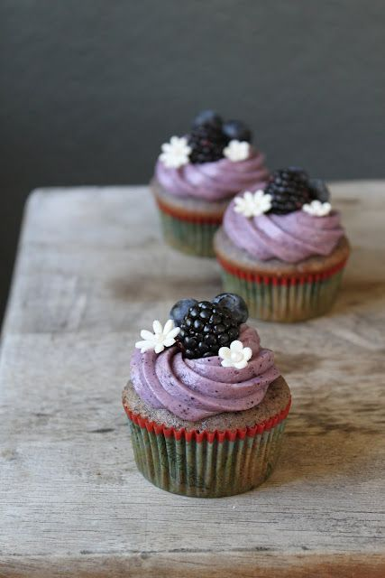 Gorgeous Blueberry-Blackberry Cupcake with Blueberry Cream Cheese Frosting