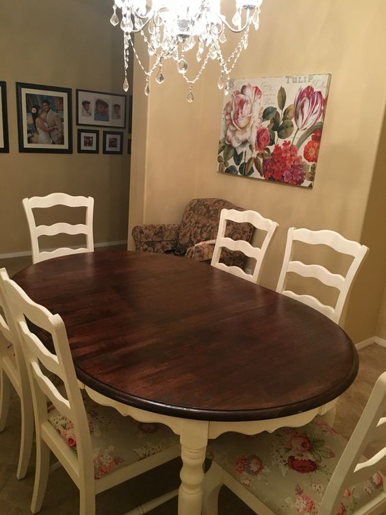 Diy Chalk Painted Kitchen Table And Reupholstered Chairs