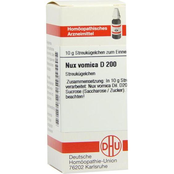 NUX VOMICA D 200 Globuli:   Packungsinhalt: 10 g Globuli PZN: 01780885 Hersteller: DHU-Arzneimittel GmbH & Co. KG Preis: 9,10 EUR inkl.…