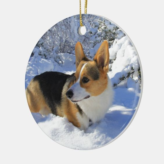 Welsh Corgi Snow Day Ceramic Ornament | Zazzle.com