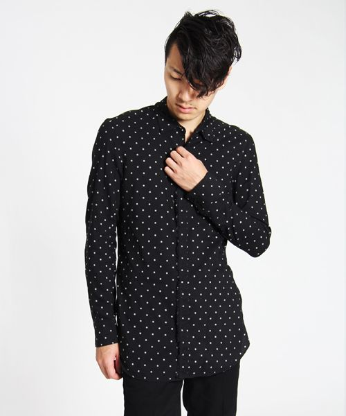 Kazuyuki Kumagai Attachment Long Polka-Dot Shirt