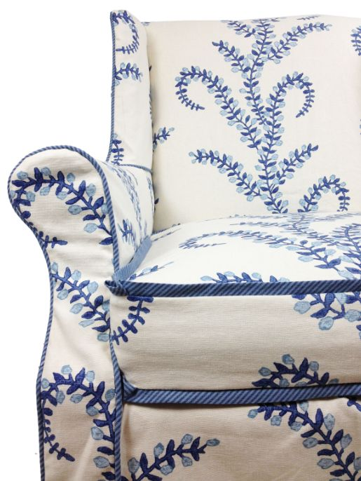 Furbish slipcovered chairs, contrast piping, ticking stripe, vine fabric - John Robshaw: