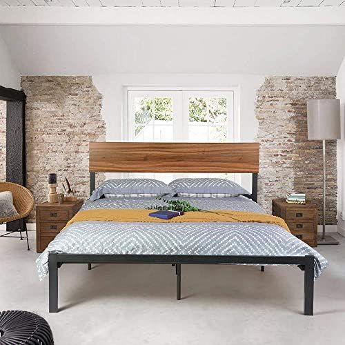 Chic Dorafair Queen Size Bed Frame Metal With Wood Headboard