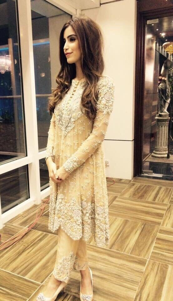 Detailed embroidered net beige short frock