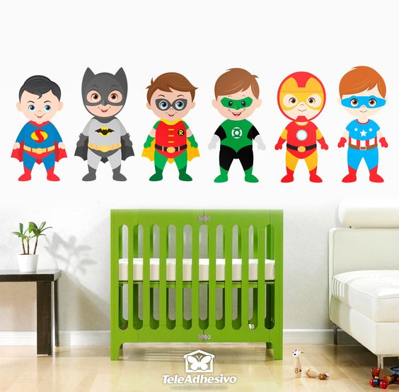 Vinilo infantil kit h roes de pie habitaci n superheroes for Sticker habitacion infantil