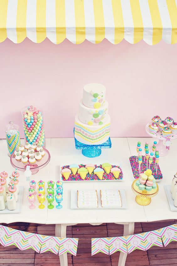 Sweet Shoppe Birthday Party /   Guaranteed to be a crowd pleaser, this party (designed by Paige of the Etsy shop Paiges of Style) is all about ice cream, candy jars, and sugar, sugar, sugar.   See the gorgeous photos at Hostess with the Mostess   Get your own Sweet Shoppe Birthday Party for $39.50.