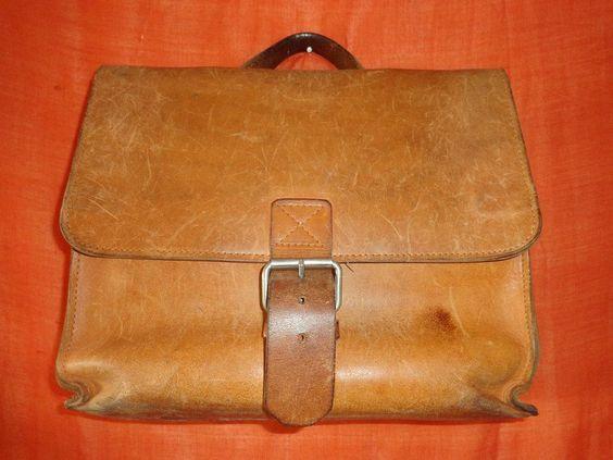 Vintage Schultaschen - Tasche*Vintage*Used*schoolbag*braun*Leder* - ein Designerstück von SweetSweetVintage bei DaWanda