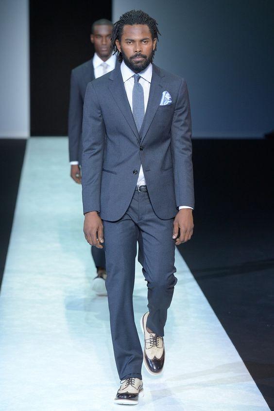 giorgio armani men�s rtw spring 2014 colors blue suits