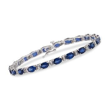 "Ross-Simons - 12.50 ct. t.w. Sapphire and .45 ct. t.w. Diamond Line Bracelet in 14kt White Gold. 7"" - #791535"