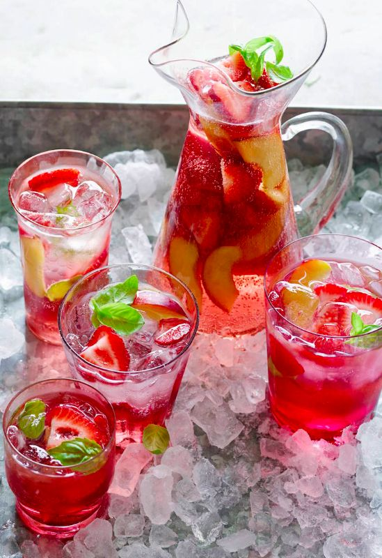 Strawberry and Peach Rosé Sangria: