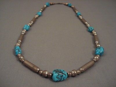 HAND-POUNDED-STERLING-TUBE-TURQUOISE-SILVER-NECKLACE