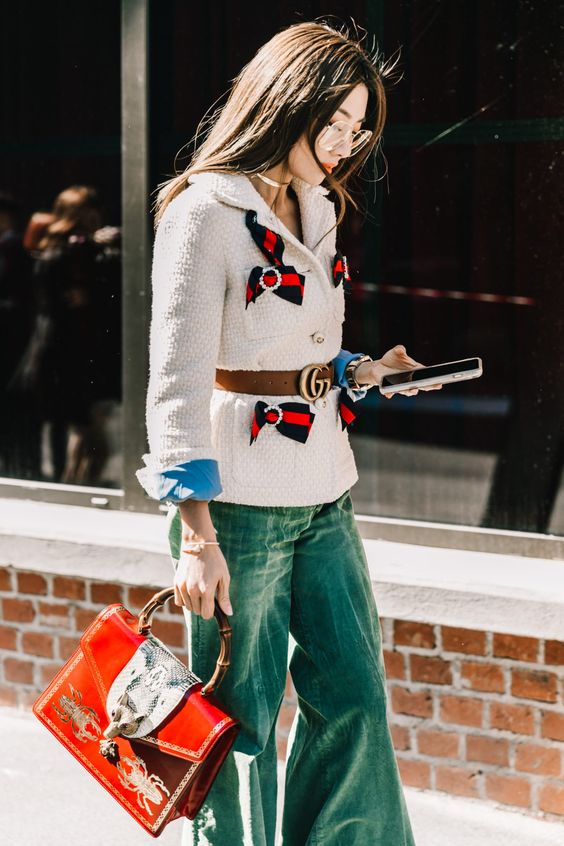 #NYFW,streetstyle,Fall2017outfitideas,bloggerstyle, oversized blazer, red boots, plaid blazer, red trend, milan fashion week, italian style