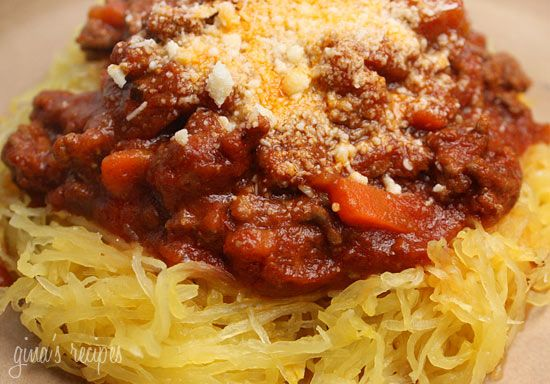 Spaghetti Squash with Meat Sauce - low points, carb-free! #healthy