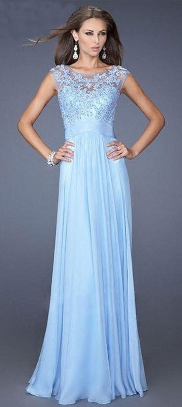 Cupshe: Sky Blue Chiffon Lace Dress. sky blue dress, formal wear ...