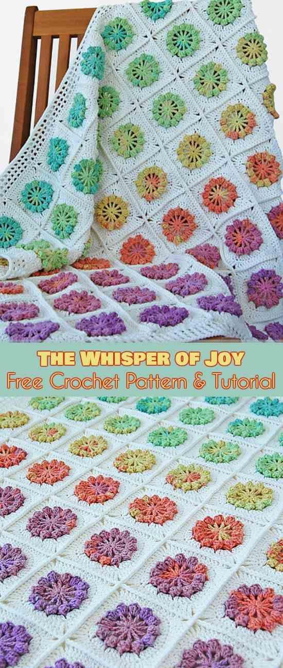 The Whisper of Joy Blanket Free Crochet Pattern #freecrochetpatterns #crochetblanket #flowers #crochetflower #grannysquare #grannysquares
