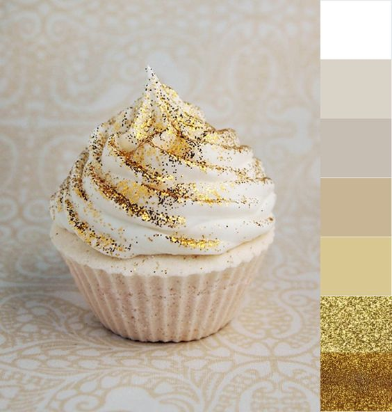 edible gold glitter on desserts and wedding cake! just buy it and give it to the food catering!