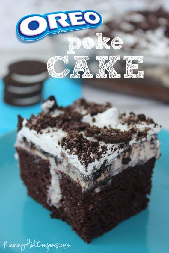 This Oreo Cake has ingredients that are a little too processed for me but my husband absolutely loves Oreos and loves desserts...so, I'll have to come up with a recipe that's not as fattening but one that is very much inspired by this Oreo Poke Cake.