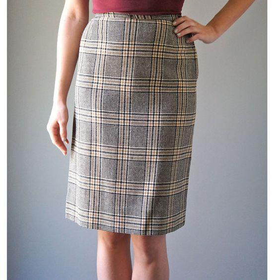 Vintage 1950s Plaid Wool Pencil Skirt | Cream Black and Brown ...