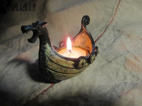 .viking boat candle holder