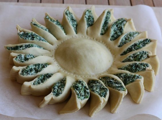 Sunflower spinach pie